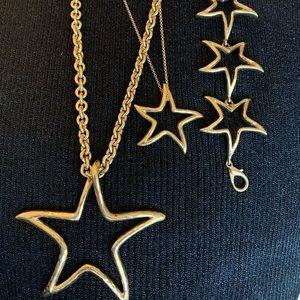 Vintage gold stars necklaces/bracelet set